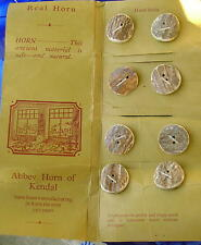 8 Vintage Hand Made Horn Buttons  Mint on Card, Abbey Horn Works of U K