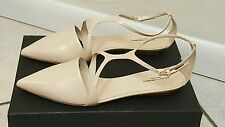 NARCISO RODRIGUEZ T-STRAP POINTY FLATS SHOES SIZE 40.5 COLOR BLUSH