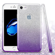 For iPhone 7 - Purple Gradient Glitter Shimmering Hard TPU Gummy Skin Case Cover