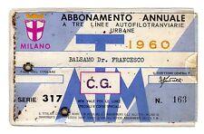 ABBONAMENTO  ATM    MILANO A   3   LINEE   AUTOFILOTRANVIARIE   URBANE     1960