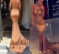 2017 Hot Gold Mermaid Long Prom Evening Formal Wedding Party Bridesmaid Dress