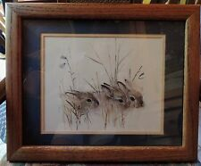 Mads Stage Baby Hares Bunny Rabbits Watercolor Print Double Matte Framed Signed