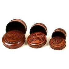 #458 Round 3 in 1 Tooled Leather Boxes Jewelry Keepsake Gift Box Valuables Peru