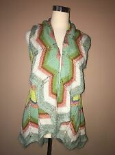 NWT Anthropologie Multi Color Zigzag Cotton Blend Coverup Knit Sweater Sz.xs,s
