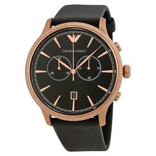 NEW EMPORIO ARMANI BLACK DIAL STAINLESS STEEL LEATHER BAND MEN WATCH AR1792