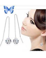 Boucles d'oreille Pendantes Longues Cristal Blanc Argent 925/1000