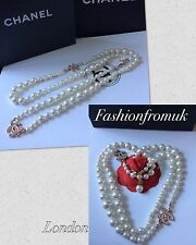 CHANEL CLASSIC 2   CRYSTAL CC's WHITE PEARL LONG NECKLACE