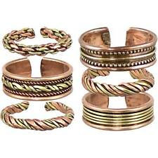SET OF 6 COPPER & BRASS RINGS ADJUSTABLE Wicca Witch Pagan Goth ASSORTED DESIGNS