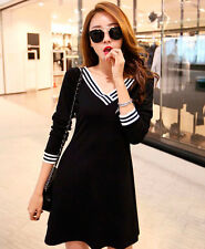 Women's Korean Style Fashion Cotton Stripe Pattern Slim Swing Round Dress Skirt