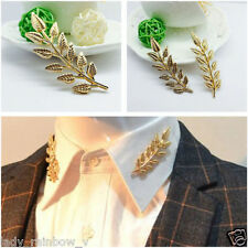 Hot New Popular Design Retro Double Golden Leaf Collar Pin Brooch Unique Look