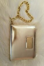 VERSACE parfums Metallic Gold Clutch Gold Chain Phone Holder Atached inside
