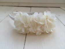 Ivory Satin Hairband Headband Alice Band Triple Flower Bridesmaid Flower Girl