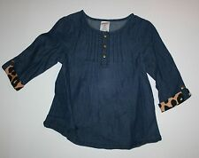 New Gymboree Right Meow Line Leopard Cuff Denim Chambray Top Shirt Size 2T NWT