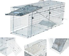"Humane Small Live Animal Control Steel Trap Cage 32""x12""x10"" Raccoon Skunk Cat"