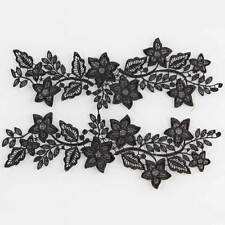 1 Pair White / Black Embroided Floral Lace Sewing Trim Wedding Dress Applique