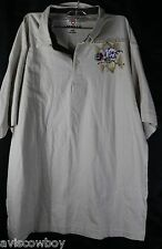 AirWalk Beige Skull Roses Skate Board Polo Rugby Shirt Men's L