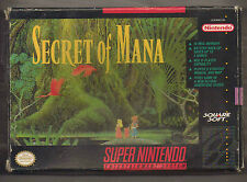 SNES NINTENDO Secret of SUPER Mana NTSC USA/Canada Versione in scatola Game + MANUALE