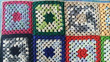 Vintage crocheted multi-color granny square afghan baby blanket throw 41 x 41 in