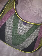 EMILIO PUCCI RUNWAY COLORS SPRING TWEED HOBO BAG PURSE, LEATHER STRAP $750