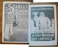 "1973 PRINT/POSTER/AD~1899 STANLEY CYCLES SHOW~1896 MICHELIN TIRES~16""x11"""