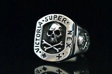 Masonic Freimaurer Skull & Bones Siegel Ring Sterling Silber 925 Wax Seal stamp