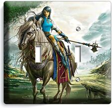 WARRIOR GIRL ON A WILD HORSE DOUBLE LIGHT SWITCH WALL PLATE TEEN BEDROOM TV ROOM