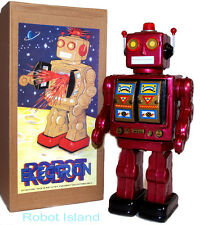 ME100 Robot Tin Toy Battery Operated Burgundy with Gold Doors Version NEW 2016!
