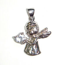 Cute GUARDIAN ANGEL Pendant Charm w/ CZ Stone Heart .925 Sterling Silver LOVELY
