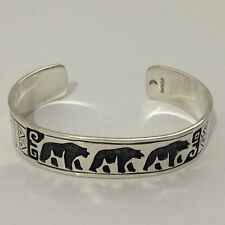 Sterling Silver Plain Handmade 3 Bear Pyramid Engraved Cuff Bracelet