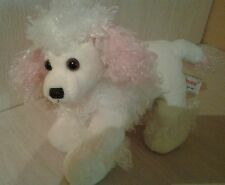 Plush Aurora Poodle White with Curly Pink Ears and Tail