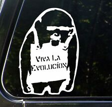 "CAR - Viva La Evolucion Chimp - Car Vinyl Decal Sticker -(4.75""w x 7""h) (WHITE)"