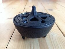 CAST IRON INCENSE BOWL WITH LID CAULDRON PAGAN WICCA CHARCOAL RESIN BURNER