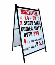 Black metal Powder Coated A Frame Sandwich Sign Plastic Custom Changeable Leters