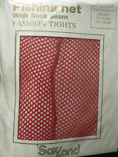 """SoxLand Red Fishing Net With Back Seam Fashion Tights-One Size Fits 5' - 5' 8"""""""
