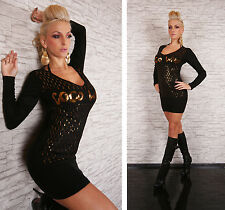 Womens sexy fine knit dress in Black with Gold trim Coco Who? fits 8 / 10