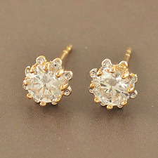 Earrings 9ct Gold Filled Diamond Studs Flower Cluster Mother