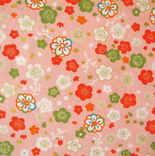 Kokka Ume Flower Pink Japanese Cotton Fabric Remnant 52x110cm PC558