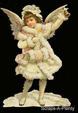 German Victorian Style Embossed Scrap Die Cut -Lrg Christmas Angel  WOW  BK5107