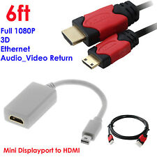 Mini DisplayPort to HDMI Video Adapter+Premium 6ft Mini HDMI Cable w/Ethernet