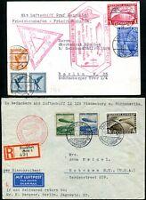 DR 1933 496-498 CHICAGOFAHRT auf 2 ZEPPELINBRIEFEN 1650€+(S7712