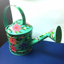 Vintage Watering Can Turquoise Flower Hand Painted India Bright Metal Home Decor