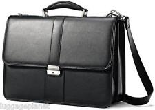 Samsonite Leather Flapover 15.6 in Laptop Briefcase - Black 43120