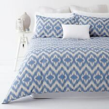 Ikat Blue and Stone  Queen Size Quilt / Doona Cover Set In 2 Linen Covers NEW