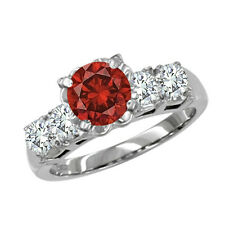 0.7 Carat Red SI2 Round Diamond Solitaire Engagement Ring 14K White Gold