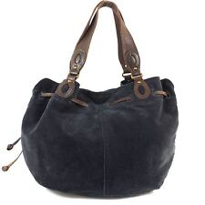 LUCKY BRAND Navy Blue Suede Leather Hobo Large Satchel Tote Bag Purse