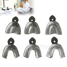 1 Pack Dental Autoclavable metal Impression Trays Stainless Steel 6Pcs/Set