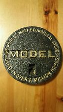 Antique Advertising Cast Iron Stove Door or Cover Plate for Rare MODEL Stove