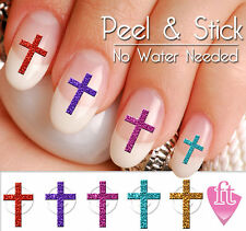 Leopard Print Cross Crucifix Christmas Nail Art Decal Sticker Set CRS901