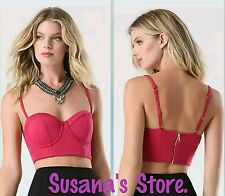 NWT BEBE Bralette Crop Top SIZE XS Lingerie-style seaming, sexy sweetheart dip