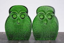 Vintage Blenko Art Glass Green Owl Bookends